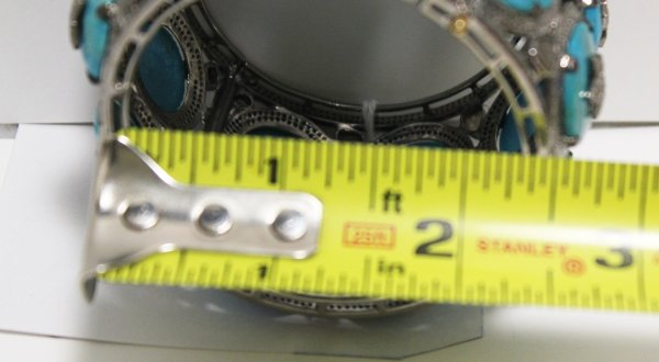 Wide Turquoise Diamond Bracelet opening