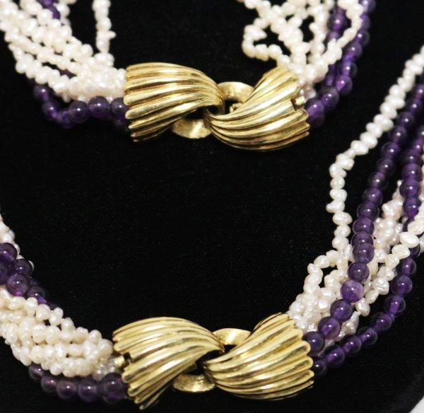Pearl Amethyst Necklace Bracelet clasps