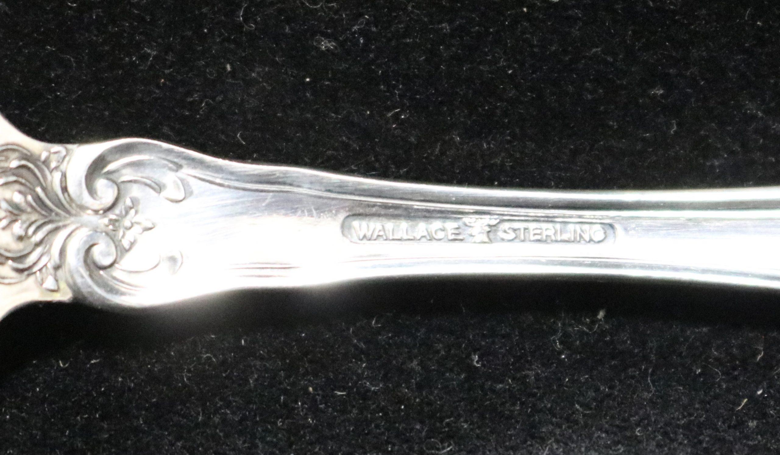 """La Reine By Wallace Sterling Silver Olive Spoon Pierced Long 7 5//8/"""" Custom Made"""