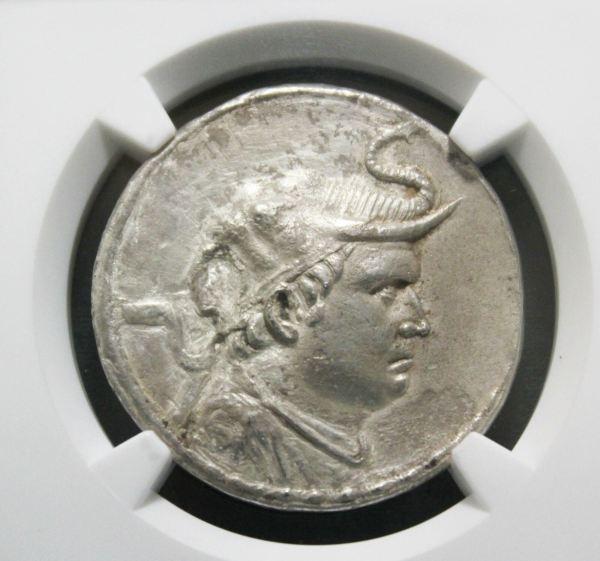 Bactria Silver Tetradrachm Coin close