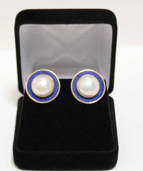 Pearl Lapis Gold Earrings main