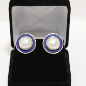 Pearl Lapis Gold Earrings main