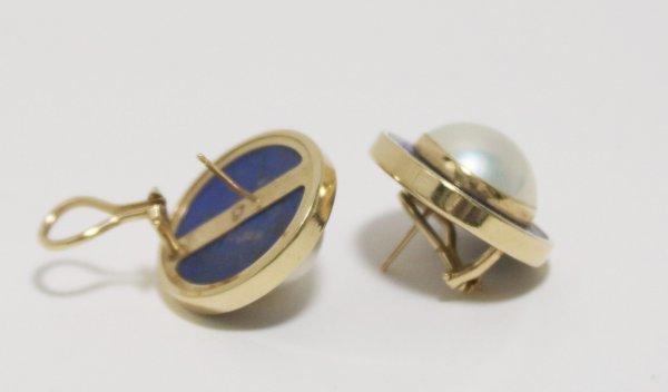 Pearl Lapis Gold Earrings backs