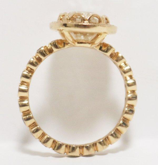 Rose Gold Diamond Ring flat side