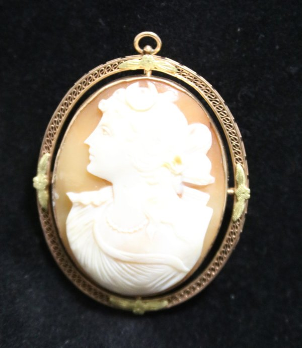 Cameo Broach Necklace Pendant front