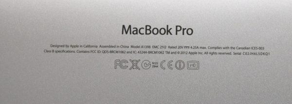 Apple Macbook Pro Computer serial