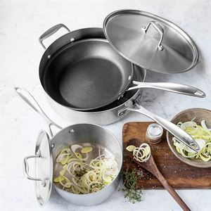 kitchen pot sets hgtv cabinets cookware made in usa american 5 piece stainless steel set