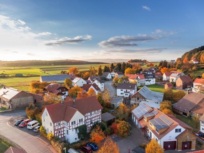 aerial view of neighborhood in fall