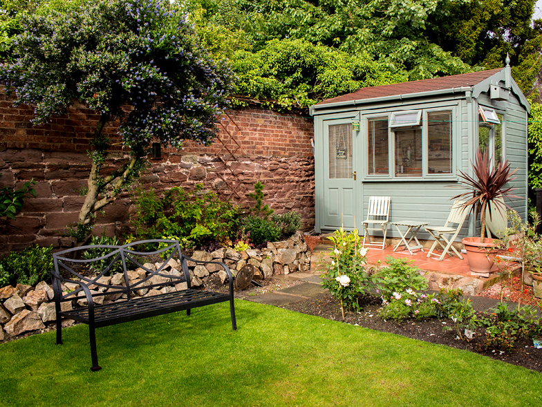 lawn with shed and garden