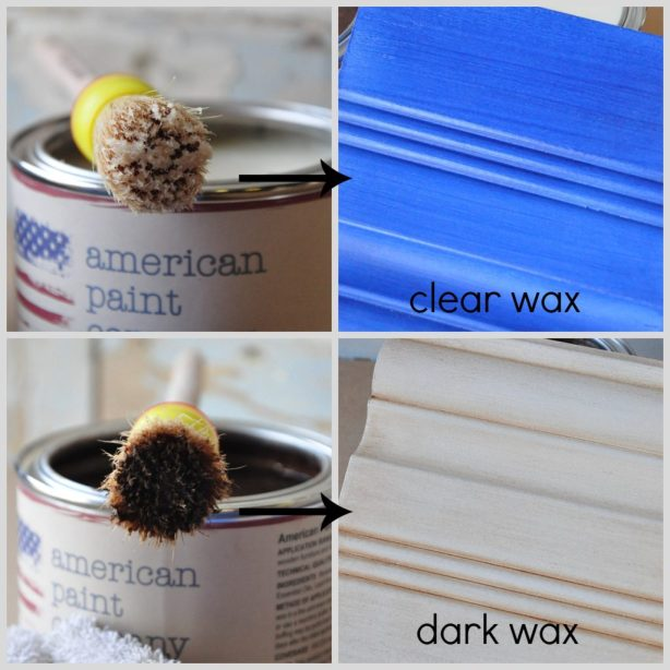 Vintage Antiquing wax from American Paint Company is available in both clear and dark.