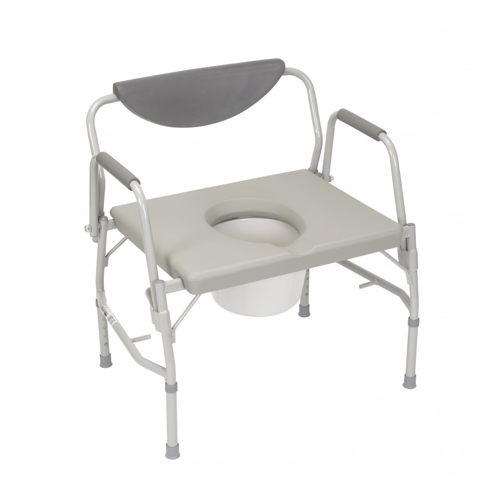 Deluxe Bariatric Drop Arm Bedside Commode Chair1000lb Wt