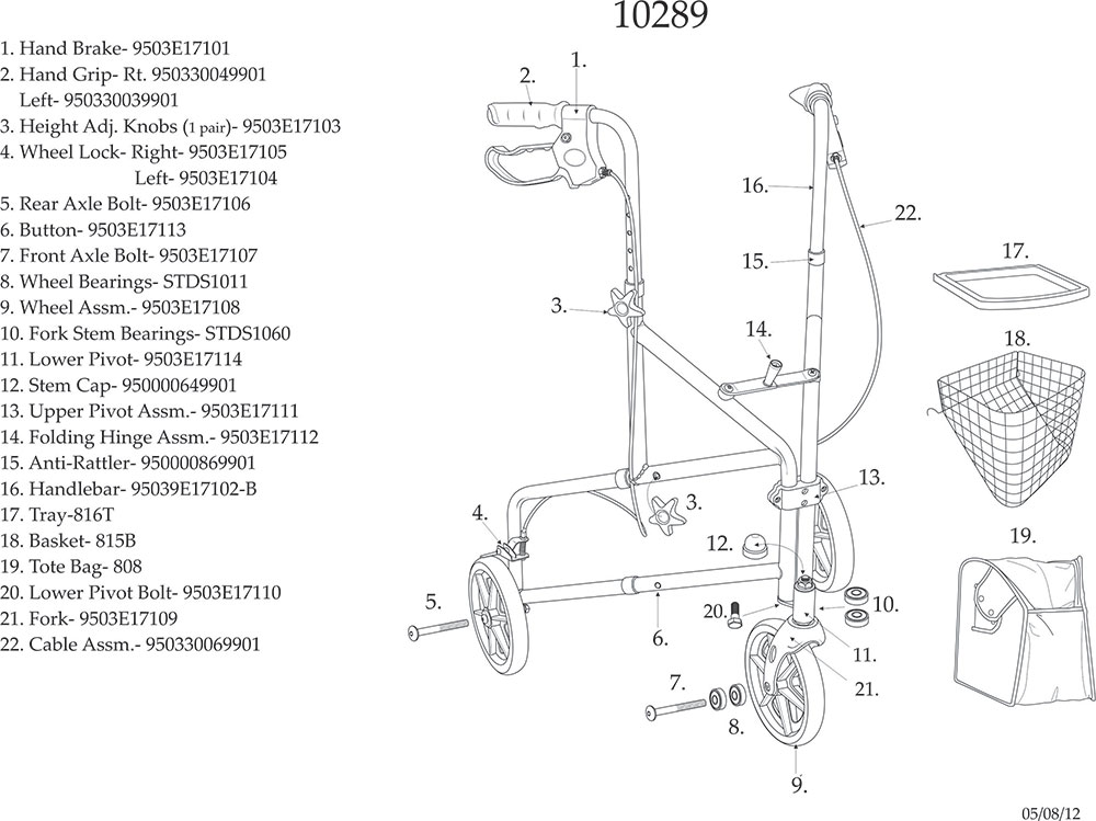 Drive 3 Wheel Aluminum Rollator with 7.5