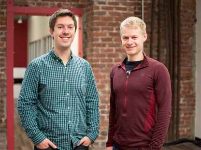 Iris Automation co-founders Alex Harmsen, left, and James Howard. (Courtesy of Iris Automation.)
