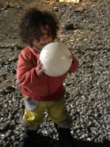 refugee child with ball