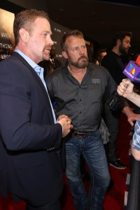 "AVENTURA, FL - JANUARY 07: Max Martini (L) and Co-author of ""13 Hours"" Mark ""Oz"" Geist attends the Miami Fan Screening of the Pramount Pictures film ""13 Hours: The Secret Soldiers of Benghazi"" at the AMC Aventura on January 7, 2016 in Miami, Florida.  (Photo by John Parra/Getty Images for Paramount Pictures) *** Local Caption *** Mark Geist; Max Martini"