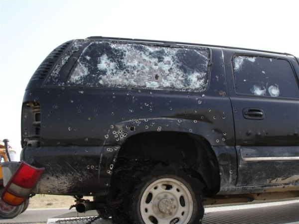 Armored Suburban Shot Up in Iraq
