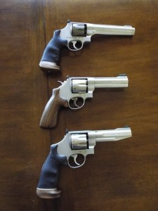 (Top to bottom) Schrock's current Jerry Miculek Signature series S&W 929 eight-shot 9mm, six-shot S&W Model 625 and the eight-shot Model 627 he started competing with.