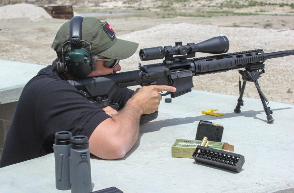 If you carry a smartphone, it makes sense to have a ballistic app. This will give precise holdover points. If you can't carry your phone, a range card, which the author is using with this DPMS rifle with Trijicon Accupower Mil reticle scope, works well.