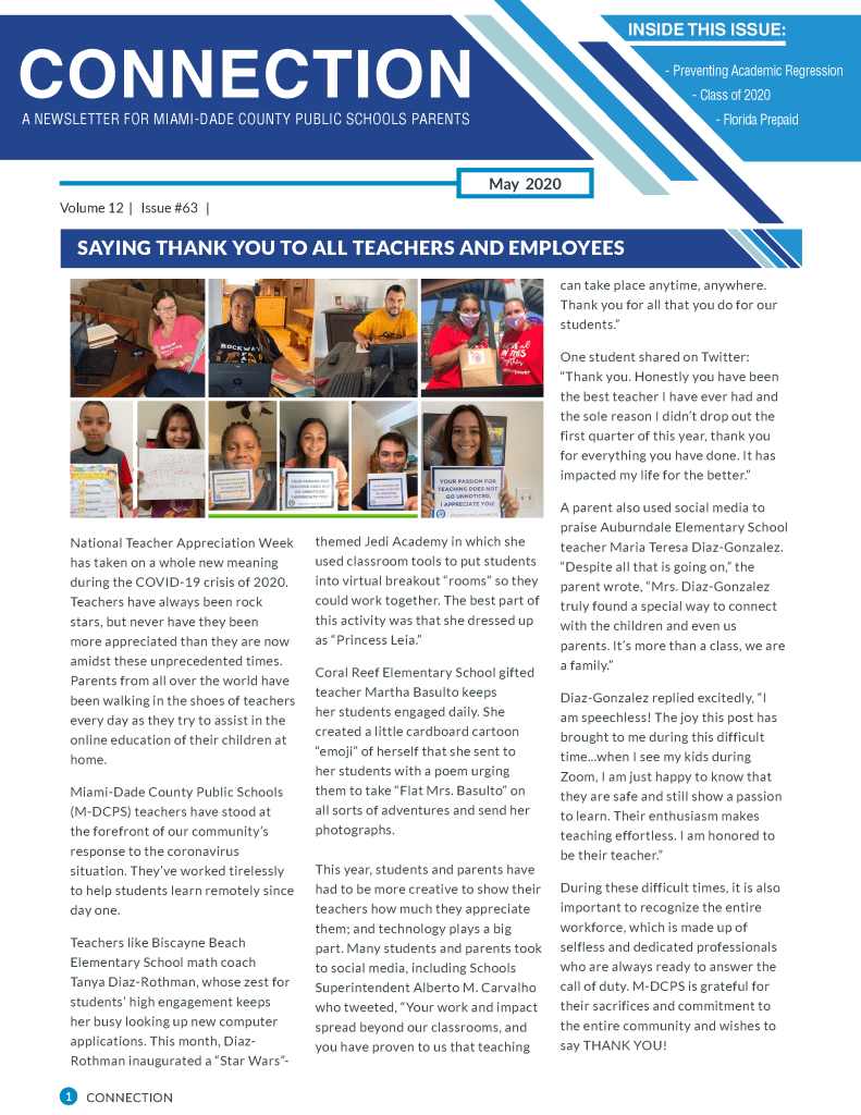 Connection Newsletter Page 1