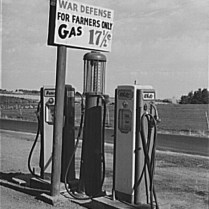 Gas Station and Rationing Sign. Twin Falls County, Idaho. July, 1942. Photo by Russell Lee.