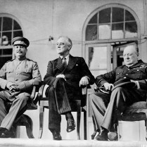Roosevelt, Stalin, and Churchill on portico of Russian Embassy in Teheran. November 28-December 1, 1943. U.S. Signal Corps Photo.