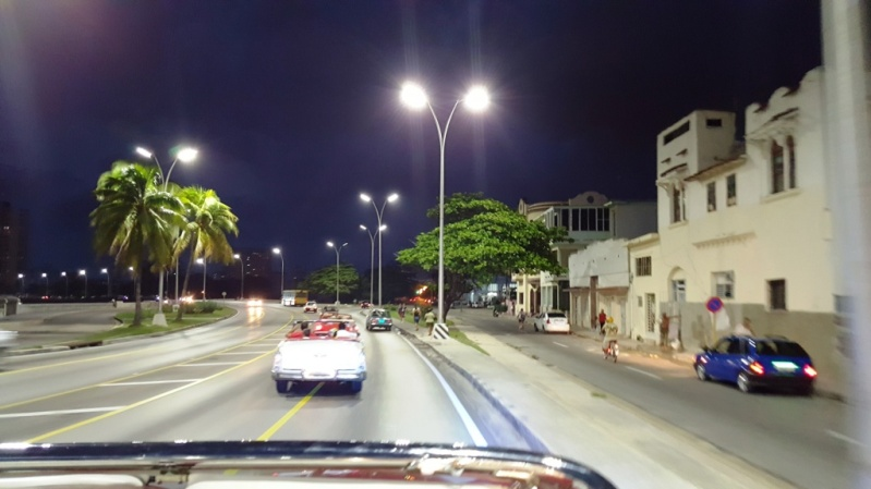 Night drive on the Malecon, Havana