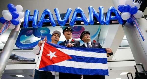 First United Airline Houston to Havana flight