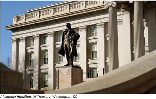 Hamilton statue outside the U.S. Treasury building