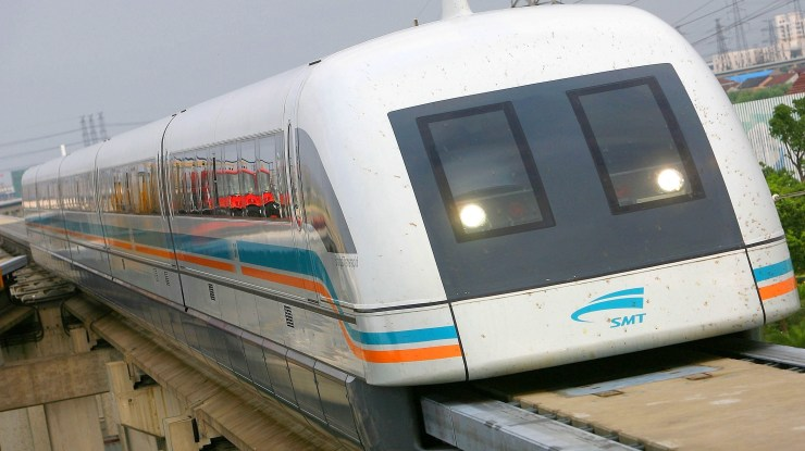 Maglev trains, like this one in Shanghai, will be an essential feature of rebuilding American infrastructure. (youtube)