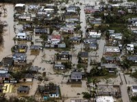 Aerial view of hurricanes' devastation of Puerto Rico