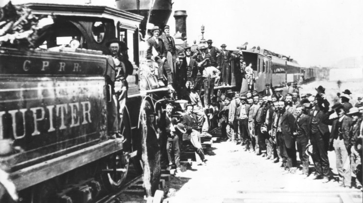 Completion of the Transcontinental Railroad, in 1869 at Promontory Point, Utah.