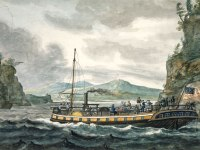 Steamboat on the Hudson, as depicted in the 19th century