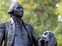 Statue of George Washington at George Washington University, which chartered in 1821.