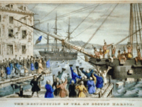 A depiction of the Boston Tea Party, December 1773.