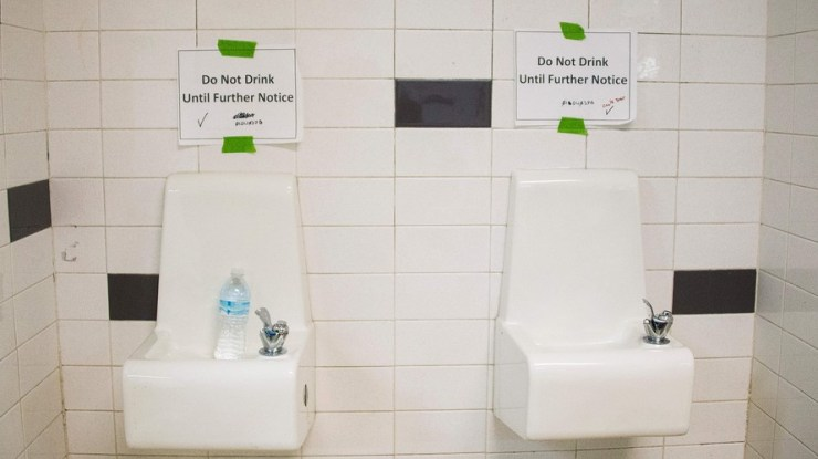 Water fountains in Flint, Michigan schools.