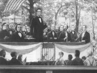 A depiction of a Lincoln-Douglas debate (National Park Service)