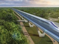 An artist's conception of a maglev from D.C. to NYC. The trip would take one hour.