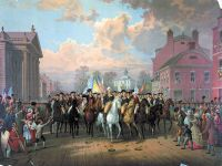 Washington enters New York City on Evacuation Day, Nov. 25, 1783