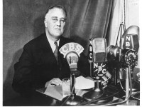 FDR addresses the nation by radio.