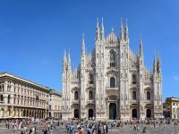 The City of Milan is not shut down. Here, its famous Piazza del Duomo