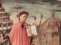 This detail from a painting by Michellino shows Dante holding a book, in which the opening lines of his poem can be seen. (wikipedia)