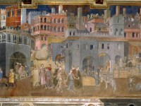Detail of Lorenzetti's fresco Allegory of Good Government in the Town (wikimedia)