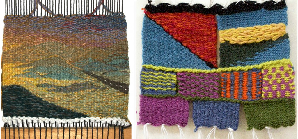 "Middle School Tapestry Technique Sampler"", 7""h x 8""w, 6 epi, photo: Lynda Brothers AND  ""Middle School Small Tapestry"", 8""h x 9""w, 8 epi, photo: Lynda Brothers."