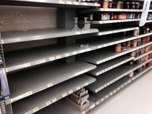 Candle and lamp aisle Cumberland County Walmart after the ice storm hit.