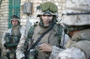 Captain Doug Zembiec on patrol in Fallujah, April 2004. [Photo Credit: Sgt. Jose E. Guillen/AP]