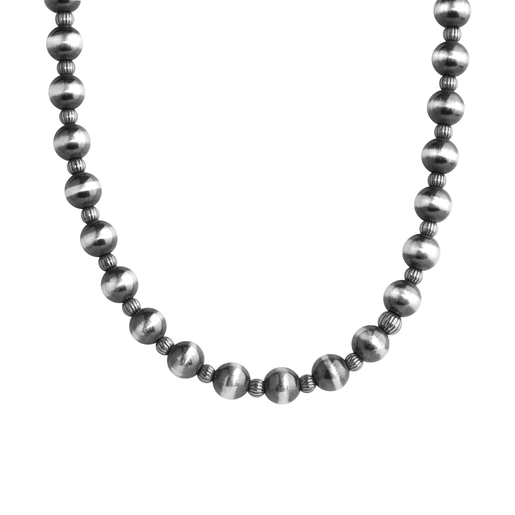 Sterling Silver 17 Beaded Necklace