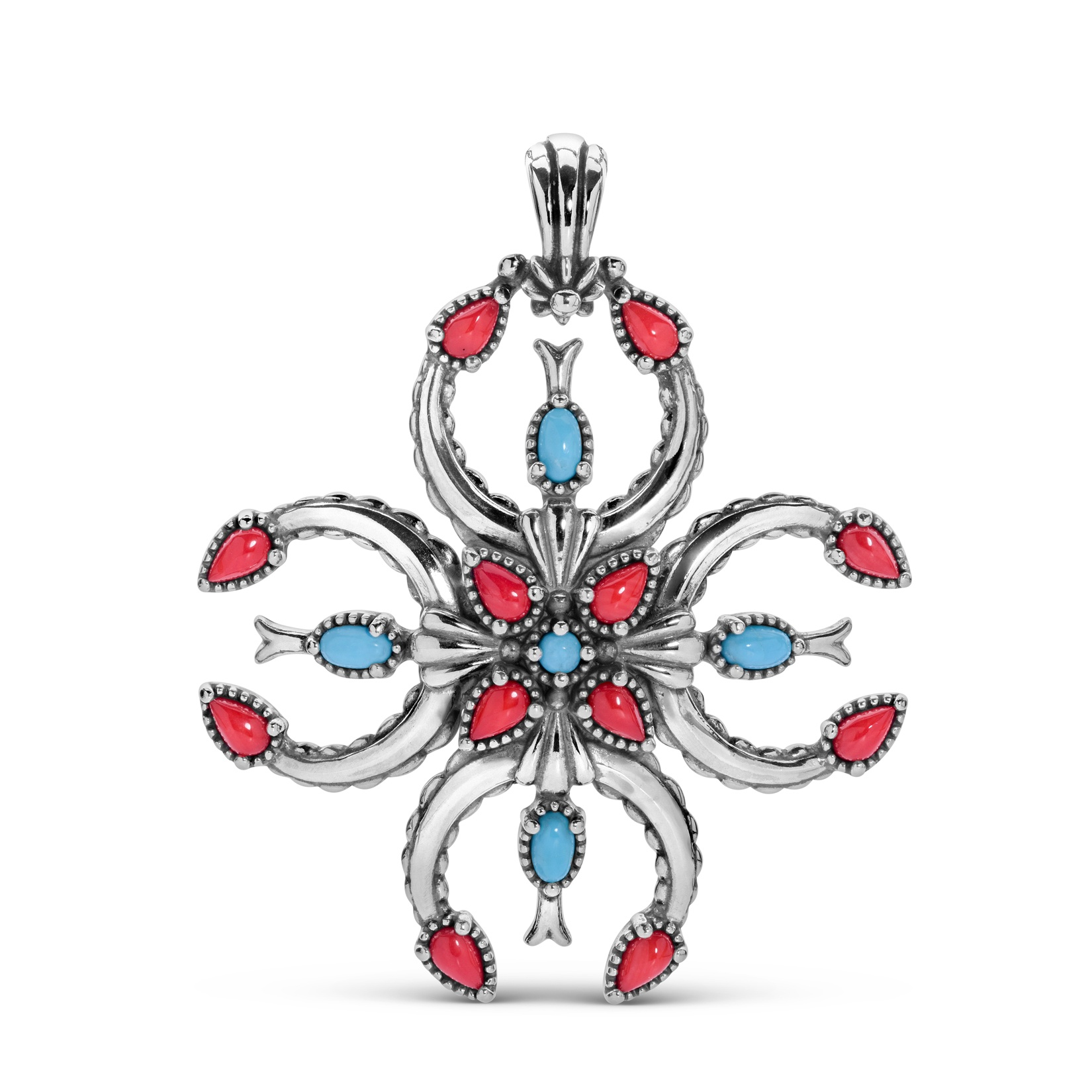 Sterling Silver and Multi-Gemstone Naja Cross Pendant