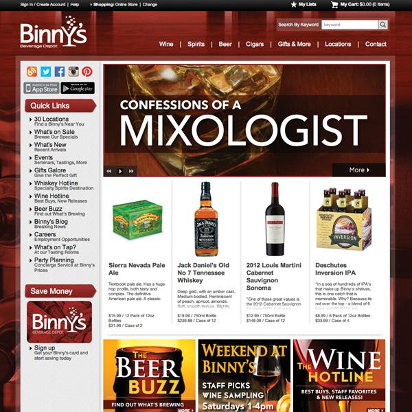 Binny's Beverage Depot website