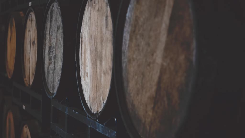 Barrels in a rickhouse