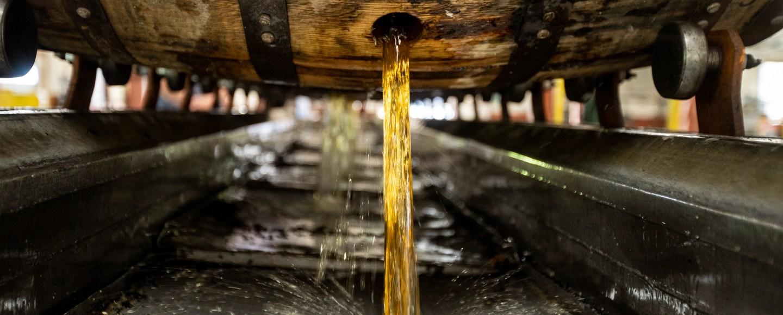 Dumping barrel at Buffalo Trace Distillery